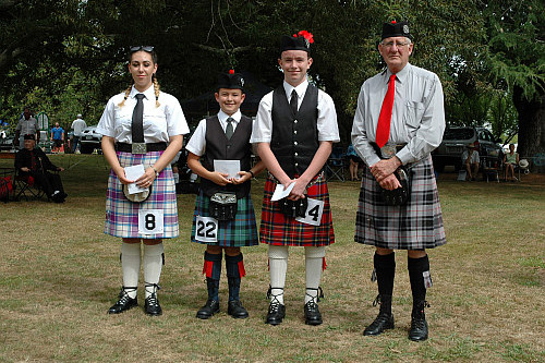 2016 Prize Winners Piobaireachd D Grade. Left to Right: Eden Bowen 3rd, Taine Harvey 2nd, Kevin O'Hara 1st with Mr Bruce Moffett judge and presenter.
