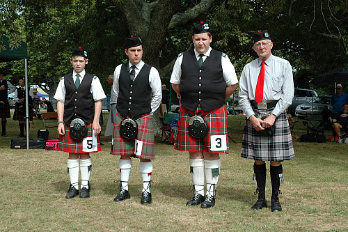 2016 Prize winners D Grade Strathspey and Reel. L to r: Lewis Graham 3rd, Gavin Dodd 2nd, Damian Hodgetts 1st, with judge Mr Bruce Moffett.
